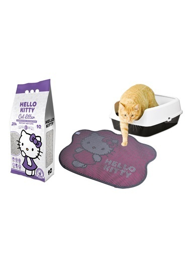 Hello Kitty HELLO KITTY 10L LAVANTA KOKULU BENTONİT KEDİ KUMU VE PASPAS Renkli